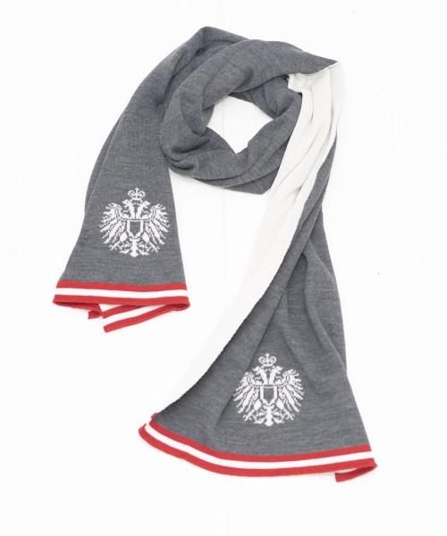 Doubleface Schal Österreich dunkelgrau-weiß-rot | Regional gefertigt | Modell: Andrea