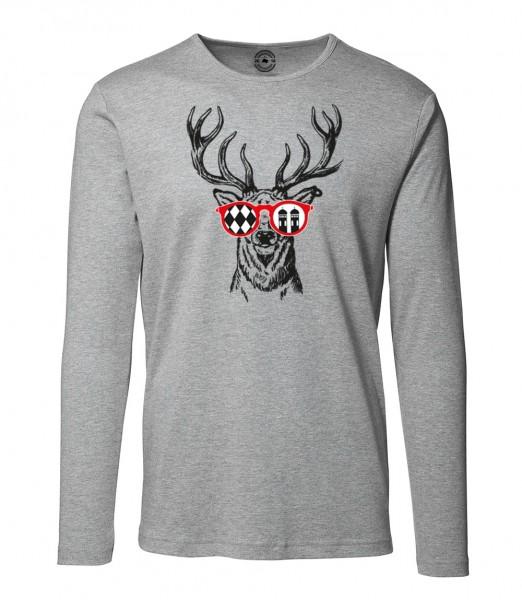 Herren Rundhals Shirt | Langarm – Interlock Jersey Motiv: Munich-Deer