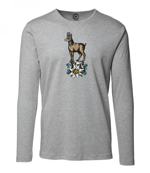 Herren Rundhals Shirt | Langarm – Interlock Jersey Motiv: Gams