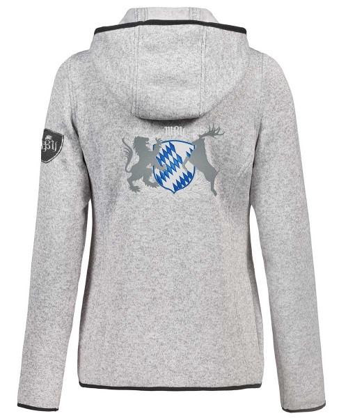 Strickfleecejacke Kapuze Hellgrau & Dunkelgrau Damen | 320 g/m² | Motiv: Bayern-Wappen