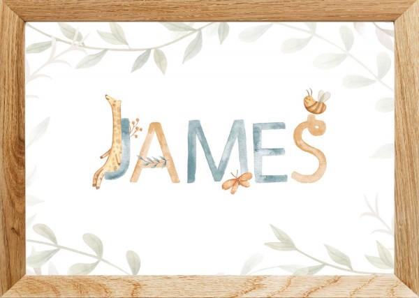 Namensposter (30x40cm) | Motiv: Giraffe | Geschenk Geburt Taufe | Junge