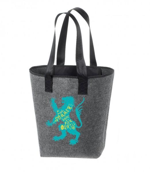 Einkaufstasche Filz groß grau Shopper | Hochwertig | 44x26cm Motiv Sommer Löwe