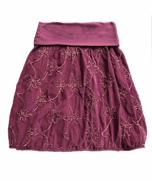 Ballonrock | Baumwolle-Cord-Optik-Blume | Bund dehnbar 66-110cm | Farbe Beere