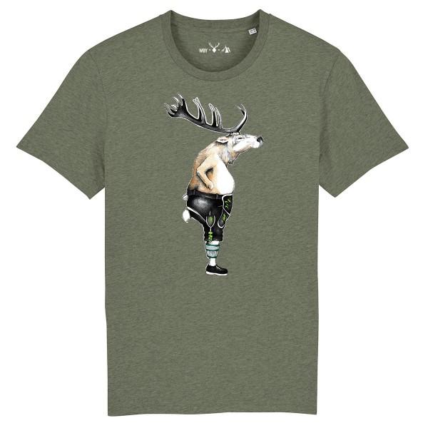 Herren Shirt Rundhals   Fair Wear   BIO   Motiv: Hirschlederne
