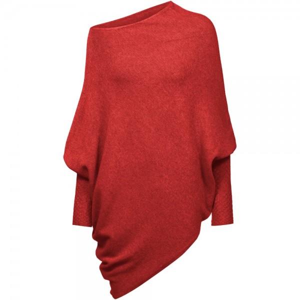 Poncho vielseitig kombinierbar   extrem weich   Modell: Katharina Farbe Rot