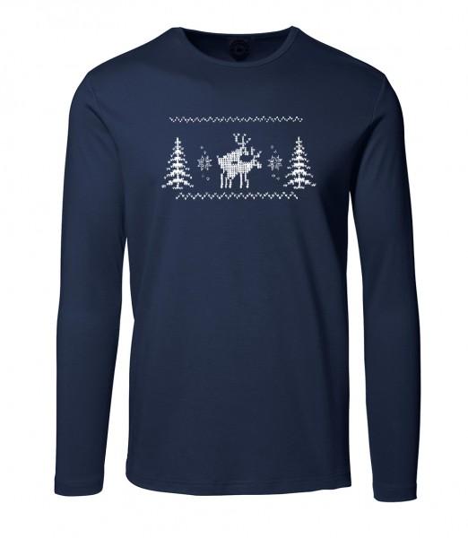 Herren Rundhals Shirt | Langarm Motiv: Happy-Deers