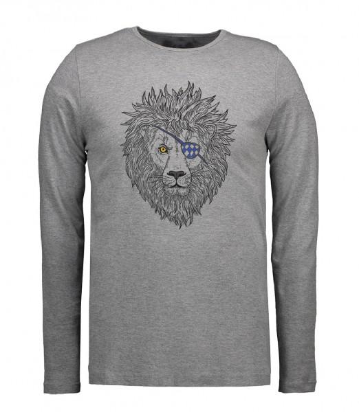 Herren Rundhals Shirt | Langarm – Interlock Jersey Motiv: Lumpi-Leo