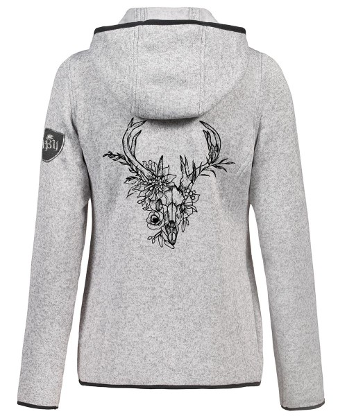 Strickfleecejacke Kapuze Hellgrau Damen | 320 g/m² | Motiv: Deer-Skull