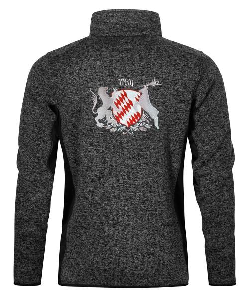 Stehkragenjacke Herren | Strickfleece | Motiv: Bayern-Wappen Rot