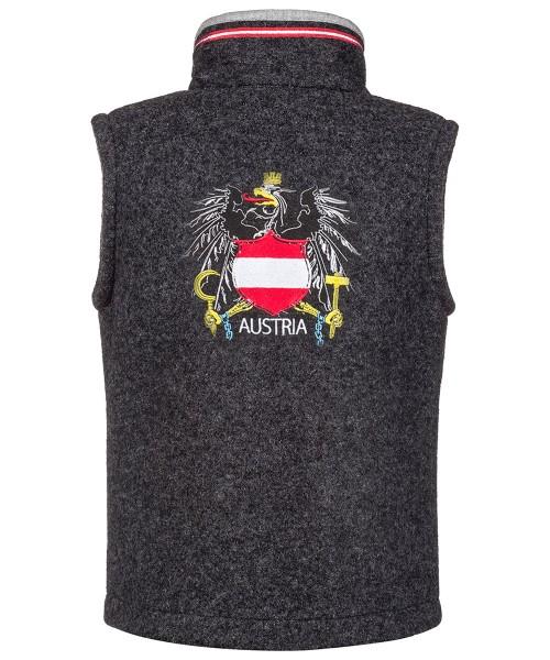 Weste bestickt dunkelgrau | Walk | Österreich-Wappen | Regional gefertigt | Modell: Walk-Austria