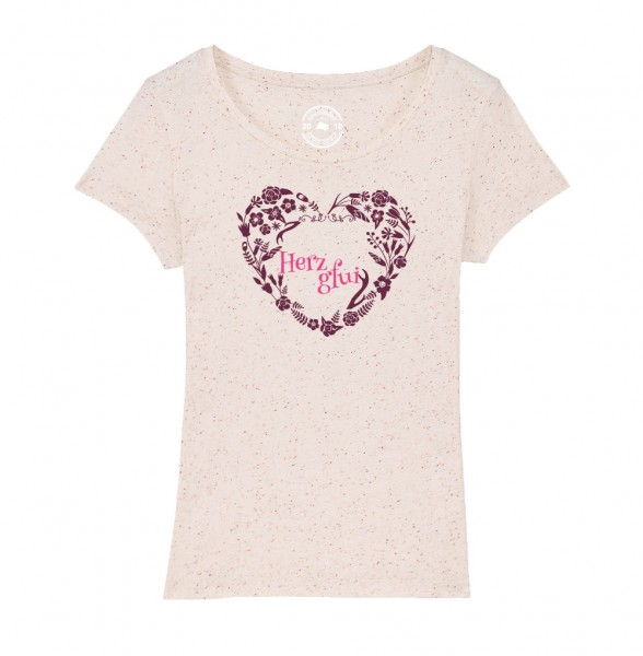 Damen Rundhals T-Shirt | Fair Wear | BIO | Motiv: Herzgfui