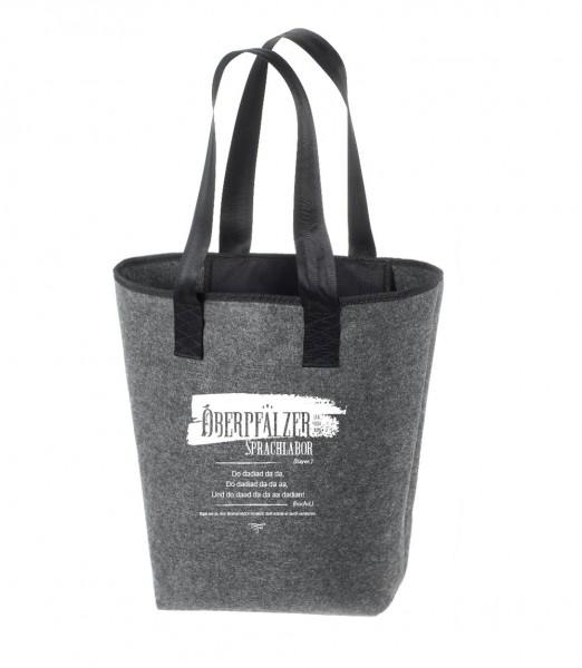 Filz Tasche grau | Hochwertig | Bedruckt mit Oberpfälzer Sprachlabor