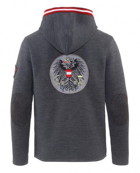 Janker anthrazit Kapuze grau – Österreich Wappen