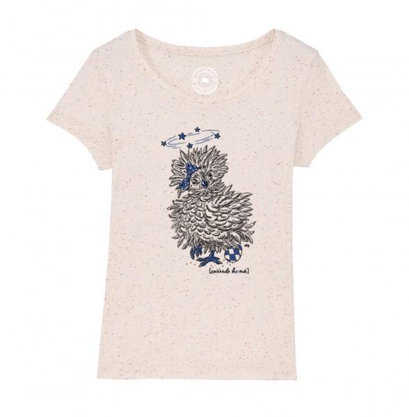 e5c363e996367c Damen Rundhals T-Shirt Sommerfarben 2019 | Motiv: Zwirrde Henne