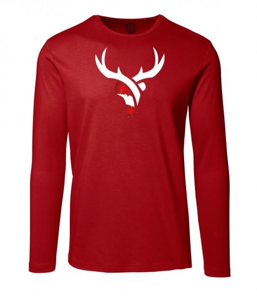 Herren Rundhals Shirt | Langarm – Interlock Jersey Motiv: Österreich Hirsch