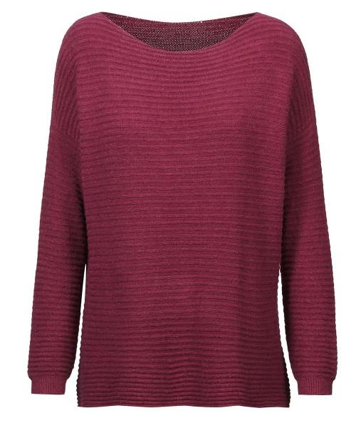 Pullover kurz gerippt | extrem weich & Einheitsgröße | Modell: Kerstin Farbe Beere