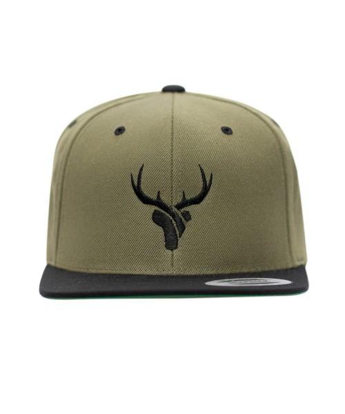 Snapback Caps olive Hirsch schwarz