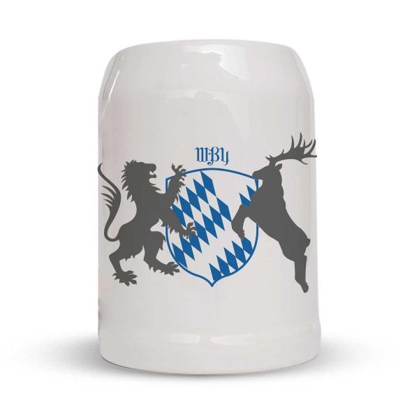 Bierkrug - Steinkrug - Motiv: Bayern Wappen