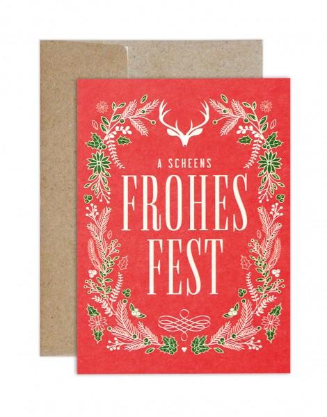 Weihnachtskarte - Frohes Fest rot