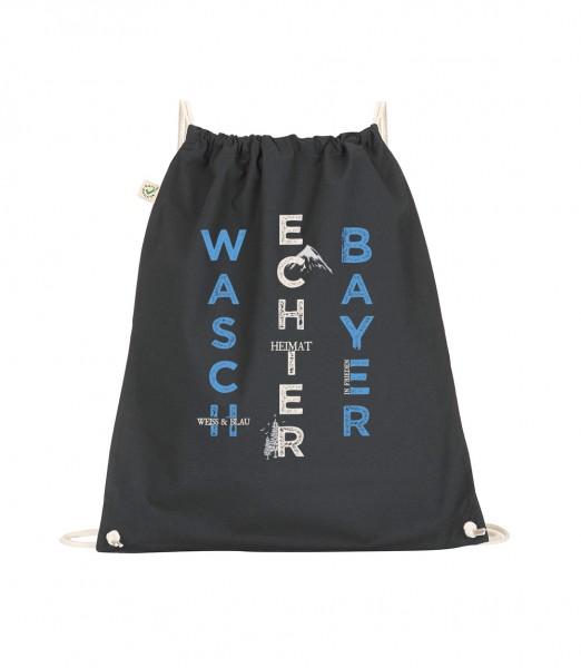Beuteltasche | Gym Bag | Turnbeutel | schwarz: Motiv: Bayern Berge Waschechter Bayer