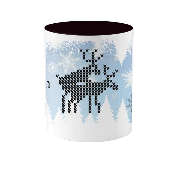Weihnachtstasse | Motiv in schwarz: Frohe Weihnachten