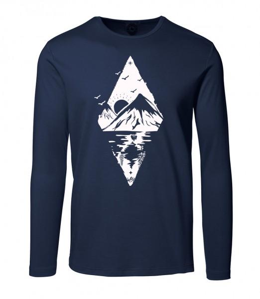 Herren Rundhals Shirt   Langarm – Interlock Jersey Motiv: Bergsee