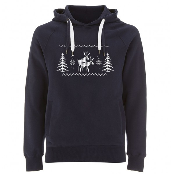 X-Mas Kapuzenpullover Herren | Fair Wear | Motiv: Happy-Deers