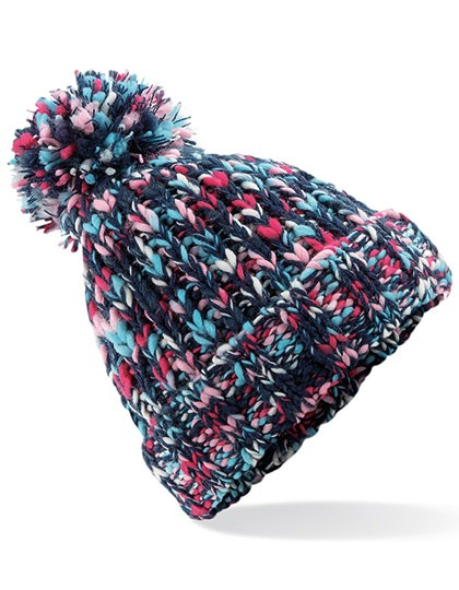 Bommelmütze Damen Bunte Farben   Winter   Fleeceband   Ein echter Hingucker