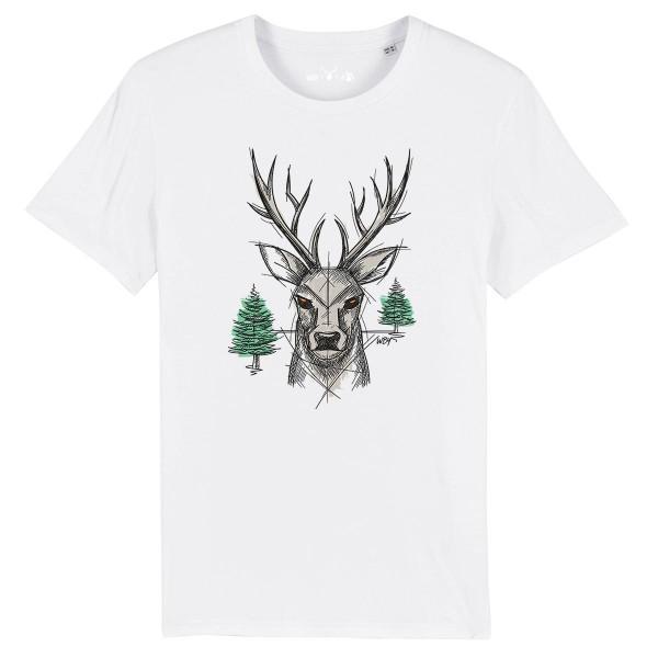 Herren Shirt Rundhals | Fair Wear | BIO | Motiv: Hirsch Zupf-Di