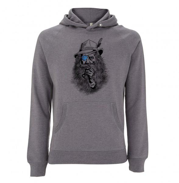 Trachtenhoodie (Unisex) Farbe Grau| Fair Wear | Motiv: Seppl Peter
