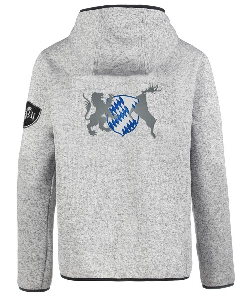 "Personalisiert - Strickjacke hellgrau ""Bayern"""