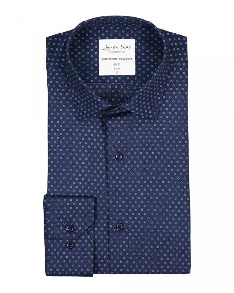 Herren Hemd Blau | Langarm | Bügelfrei | Modern Fit | 100 % Baumwolle Gr. S