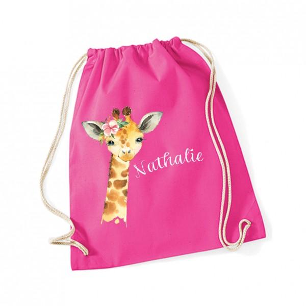 Turnbeutel personalisiert Motiv: Giraffe Wunschtext | Sportbeutel 37x46cm | Gym-Sac