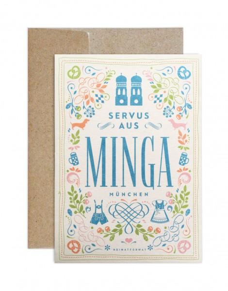 Glückwunschkarte - Grüße aus Minga