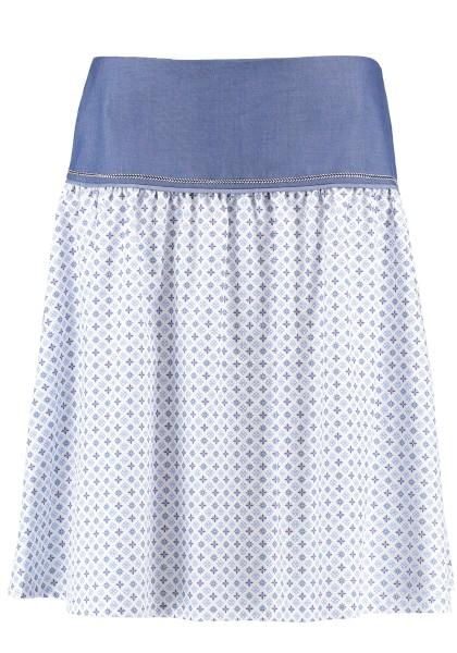 Trachtenrock weiß-blau-geblümt | Baumwolle | Knielang