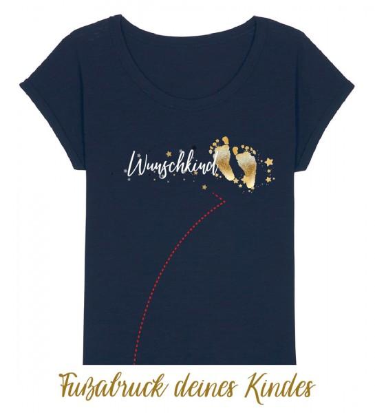 Geburts-Shirt personalisiert Fußabdruck des Kindes | Fair Wear | BIO | Motiv: Wunschkind