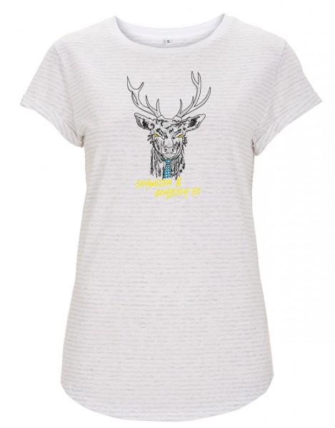 Damen T-Shirt gestreift Motiv: Gehweida - GOTS zertifiziert / vegan