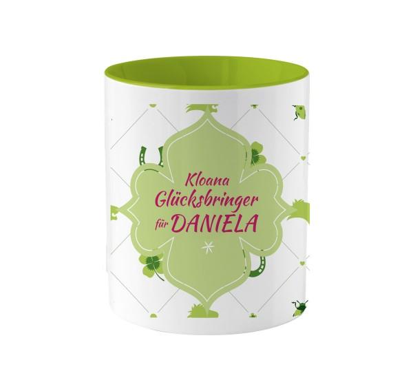 Tasse Glücksbringer | Geschenkidee | grün-weiß | Bedruckt Wunschname