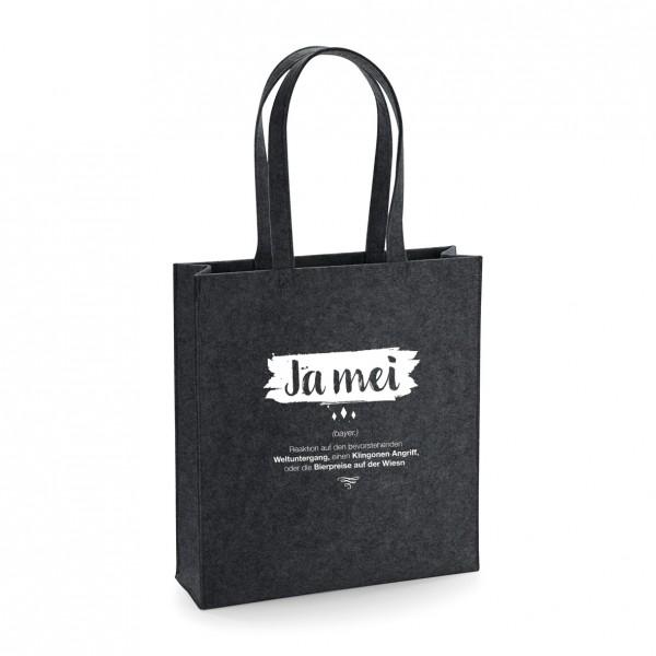 Filz Tasche grau | Einkaufstasche | Motiv: Ja-Mei
