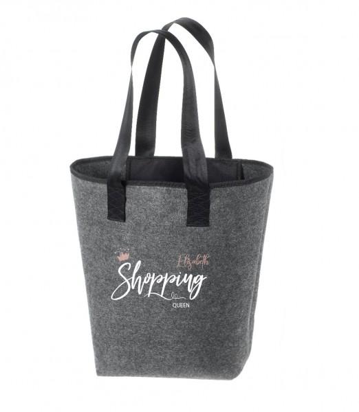 Filz-Tasche grau groß Shopper (personalisiert) | 44x26cm Shopping Queen (hochwertig)