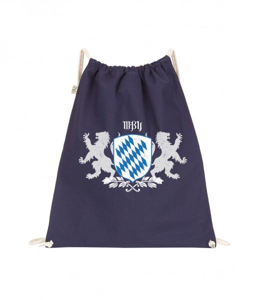 Beuteltasche | Gym Bag | Turnbeutel | blau - schwarz | Motiv: Bayern Wappen