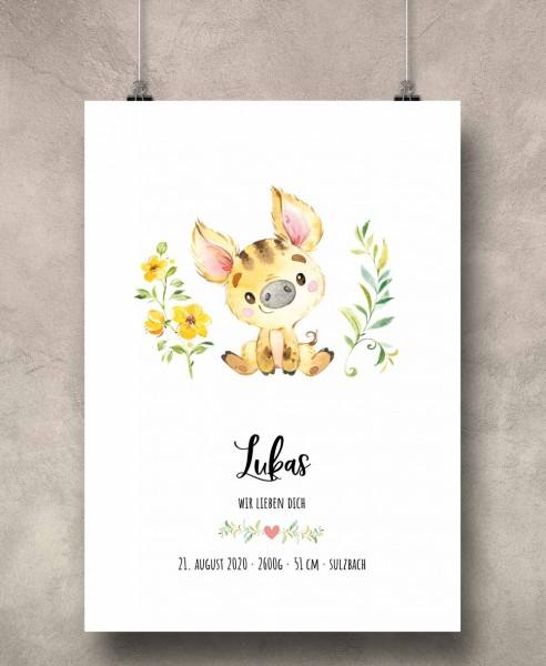 Geburtsposter Motiv: Wildschwein (personalisiert) 30x40cm Baby-Geschenk | Taufe | Geburtstag