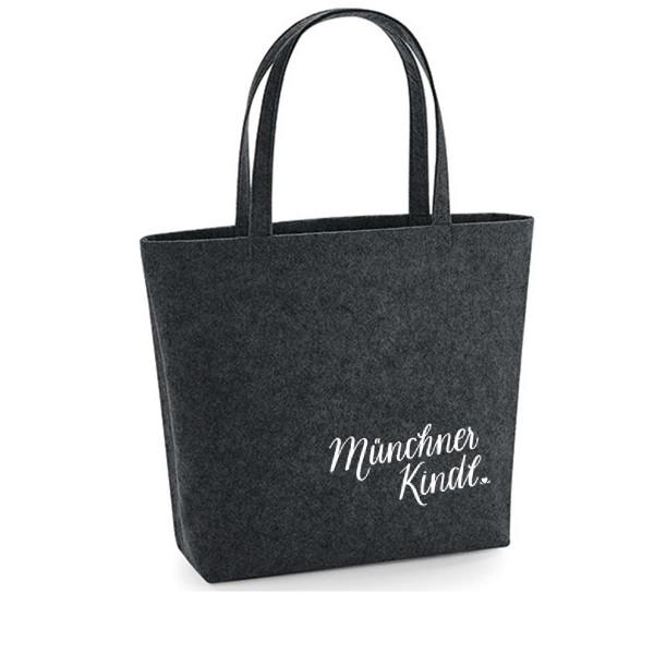 Filz Tasche grau | Einkaufstasche | Motiv: MünchnerKindl
