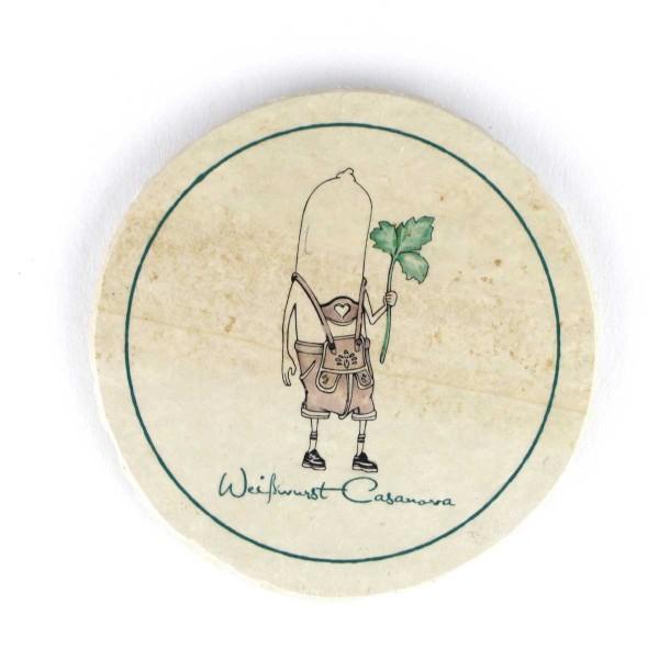 Bierfilz | Steinfützl | Bedruck | Handgefertigt – Motiv Weißwurst Casanova
