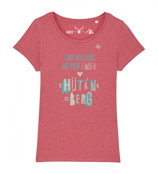 Damen Rundhals T-Shirt | Fair Wear | Motiv: Huetten am Berg