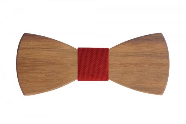 Holzfliege | Handgefertigt | Nußholz | Modell: Rot