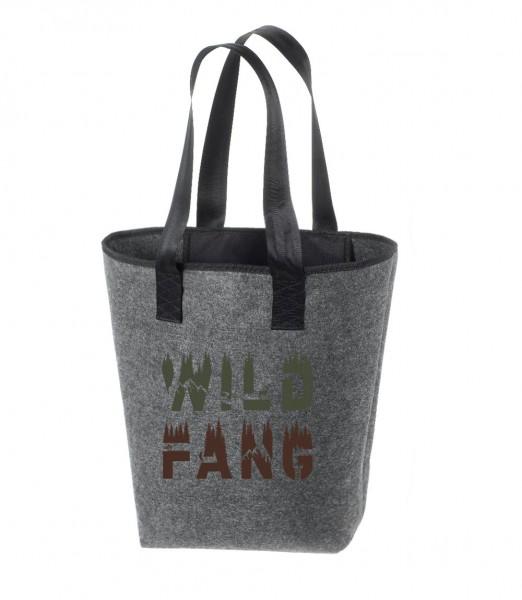 Einkaufstasche Filz groß grau Shopper | Hochwertig | 44x26cm Motiv WILD FANG