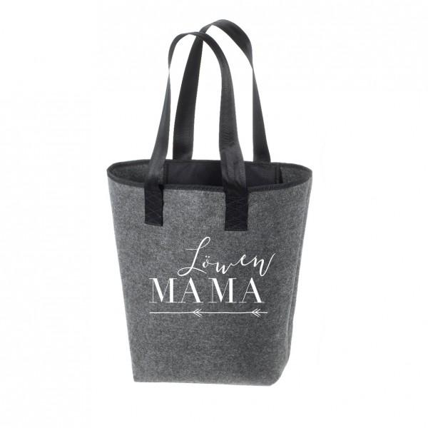 Einkaufstasche Filz groß grau Shopper | Hochwertig | 44x26cm Motiv Löwenmama