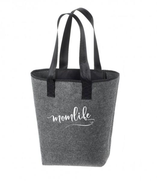 Einkaufstasche Filz groß grau Shopper | Hochwertig | 44x26cm MotivMomslife