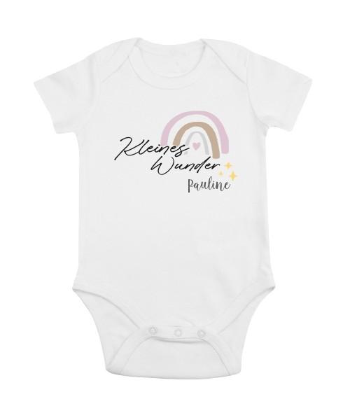 Baby-Bio-Body kurzarm Motiv: Kleines Wunder - Mädels